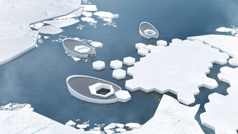 Podmornica koja proizvodi led koji se ispušta u polarna mora